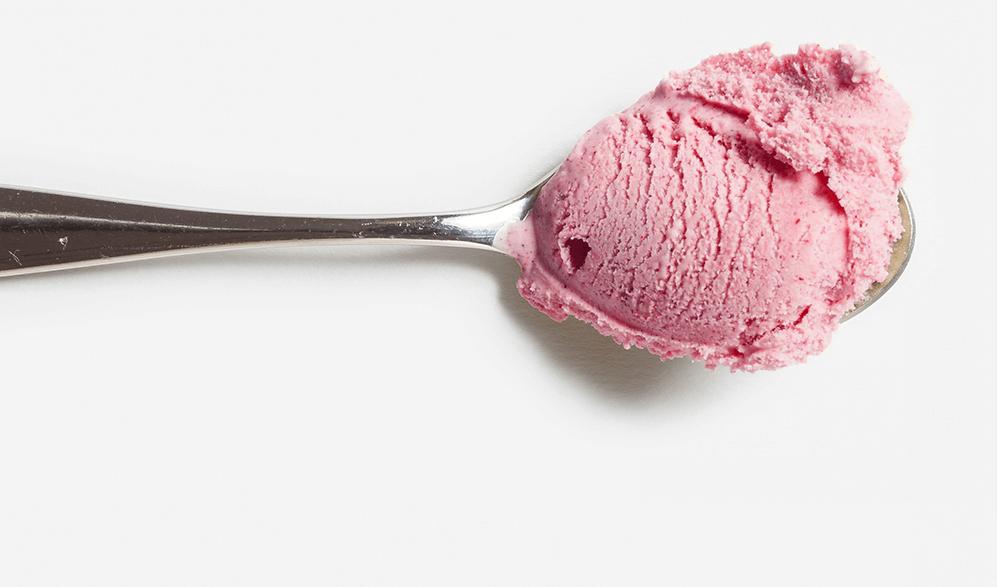 spoon with ice cream